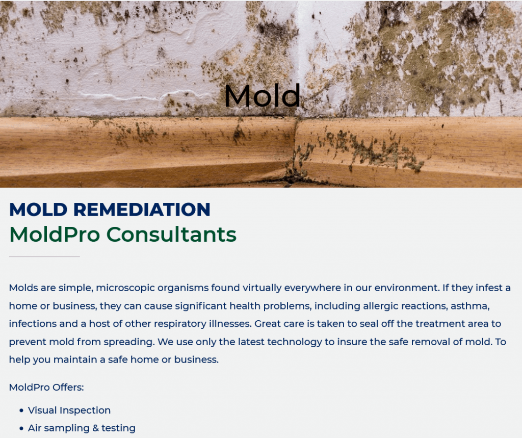 Mold Pro Consultants - Over 20 Years Experience